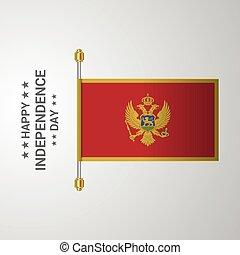 montenegro, bandiera, fondo, appendere, giorno, indipendenza