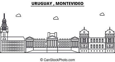 montevideo, uruguay, disegno, costruzioni, landmarks., vettore, orizzonte, editable, concetto, strokes., silhouette, linea, appartamento, architettura, illustration., paesaggio urbano, contorno