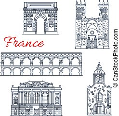 montpellier, francia, vettore, icone, architettura