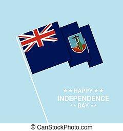montserrat, tipografico, bandiera, vettore, disegno, giorno, indipendenza