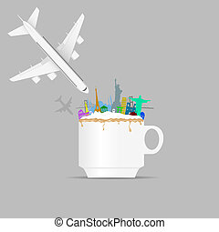 monumenti, aeroplano, illustrazione, caffè, famoso, tazza, storico