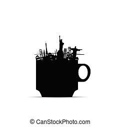 monumenti, illustrazione, caffè, famoso, tazza, storico
