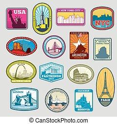 monumenti, limiti, etichette, famoso, emblemi, vettore, mondo
