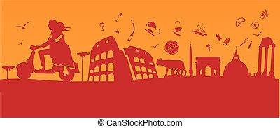 monumenti, roma, motocicletta, coppia, fondo