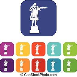 monumento, columbus, set, icone