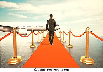 moquette, classe, camminare, primo, rosso, uomo affari, aereo
