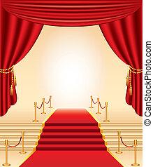 moquette, dorato, tenda, stanchions, scale, rosso