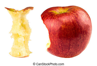 morso, mela, isolato, bianco, intero, rosso