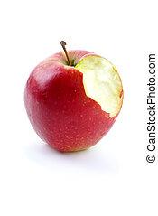morso, pezzo, spento, mele