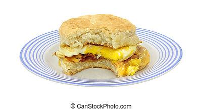 morso, piastra, panino colazione, blu