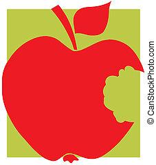 morso, rosso, silhouette, mela