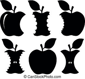 morso, silhouette, mela