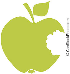 morso, verde, silhouette, mela
