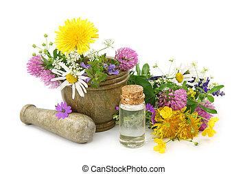 mortaio, fiori, fresco