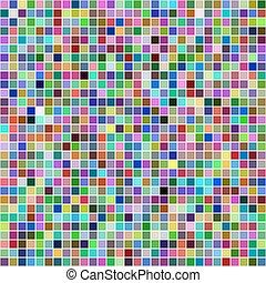 mosaico, multicolor, quadrato, pixel, fondo