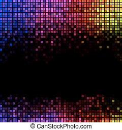 mosaico, pixel, quadrato, astratto, luci, discoteca, multicolor, fondo.