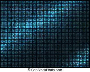 mosaico, pixel, quadrato, blu, astratto, luci, discoteca, multicolor, vettore, fondo.