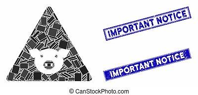 mosaico, rettangolo, sigilli, importante, graffiato, avviso, errore, maiale