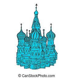 mosca, backplate, colorato, illustrazione, cremlino