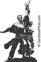 mosca, donna, lavoratore, kolkhoz, monumento