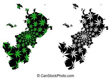 mosca, federale, mappa, foglia, (russia, thc), canapa, verde, fatto, fogliame, federazione, russo, (marihuana, marijuana, città, disegnato, soggetti, nero, russia)