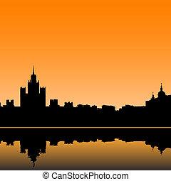 mosca, illustrazione, orizzonte, vettore, città, silhouette