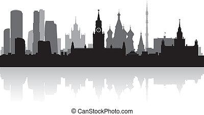 mosca, orizzonte, vettore, città, silhouette