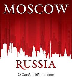mosca, russia, fondo, orizzonte, città, rosso, silhouette