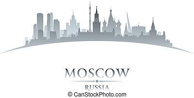 mosca, russia, fondo, orizzonte, città, silhouette, bianco