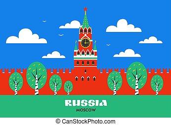 mosca, russo, punto di riferimento, quadrato, torre, russia., style., cremlino, mosca, spasskaya, nazionale, appartamento, rosso, kremlin.