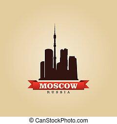 mosca, simbolo, russia, vettore, città