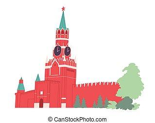 mosca, square., kremlin., torre, rosso, spasskaya, russia