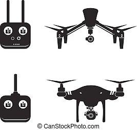mosca, vettore, aereo, illustrazione, fuco, macchina fotografica, video, elicottero, silhouette