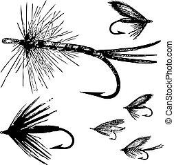 mosca, vettore, set, pesca