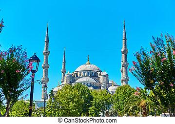 moschea, blu, sultanahmet, quadrato, istanbul