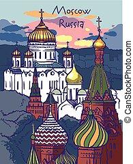 moscow., illustrazione, vettore