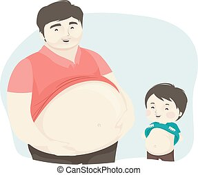mostra, capretto, uomo, babbo, ragazzo grande, illustrazione, pancia