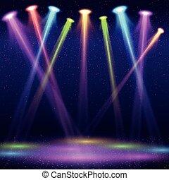 mostra, colorare, moderno, macchia, illustrazione, locale notturno, luci, vettore, interno, palcoscenico vuoto