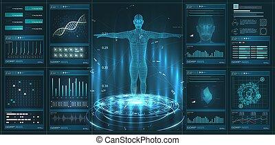 mostra, elemento, corpo, tecnologia, clone, hud, esame, umano, ciao, interfaccia, salute, diagnostico, style., medico, analisi, cura, virtuale, moderno, examination., hud, set, dna, ui, gui, elements.