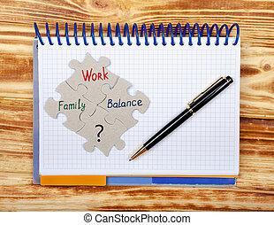 mostra, equilibrio, famiglia, quaderno, la maggior parte, lavoro, importante, areas., vita
