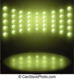 mostra, luci, vettore, sfondo verde, palcoscenico
