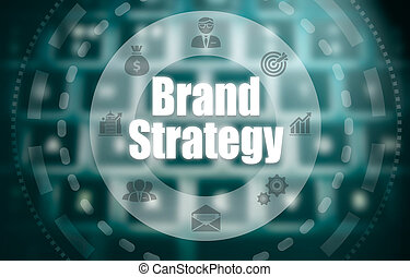 mostra, marca, immagine, sopra, strategia, keyboard., computer, concetto, blured, futuristico