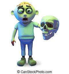 mostro, cranio, scarey, zombie, undead, umano, illustrazione, presa a terra, 3d