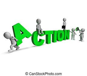 motivato, caratteri, attività, azione, o, proactive, mostra