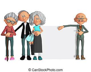 motivato, persone, vecchio, cartellone, felice, 3d