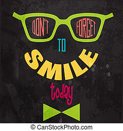 motivazionale, smile!, dimenticare, fondo, non faccia