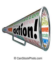 motivazione, missione, bullhorn, parole, azione, megafono