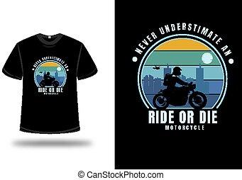 motocicletta, blu, underestimate, cavalcata, verde, colorare, t-shirt, dado, mai, giallo, o