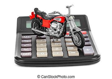 motocicletta, giocattolo, calcolatore