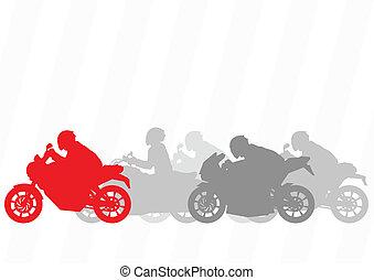 motociclette, collezione, silhouette, vettore, illustrazione, fondo, sport, cavalieri, motocicletta
